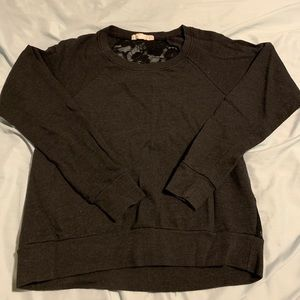 Forever21 Charcoal Grey Sweater,  Back Black Lace